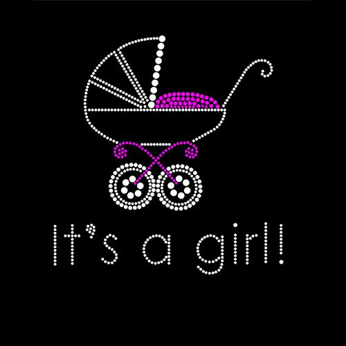 It's a Girl Baby Buggy Iron On Rhinestone Crystal T-shirt Transfer