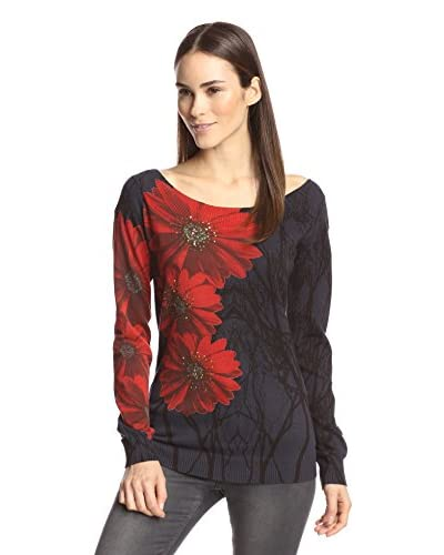 Desigual Women's Floral Detail Sweater  [Gray]