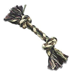 Petrageous 2-Knot Rope Bone for Dogs, 13-Inch, Camo
