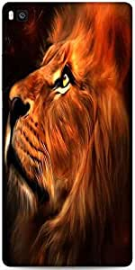Snoogg Lion Hearted Designer Protective Back Case Cover For Huawei Ascend P8