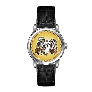 AMS Christmas Gift Watch Women's Vintage Design Leather Black Band Wrist Watch 5 Birdorable Owls Wristwatch