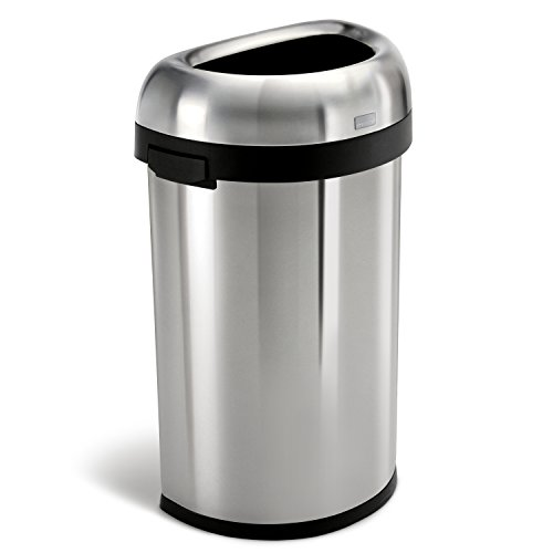 simplehuman Semi-Round Open Trash Can, Commercial Grade, Stainless Steel, 60 L / 16 Gal (Large Indoor Trash Can compare prices)