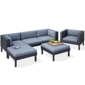 Corliving ppo 805 z oakland 6 piece sofa with for Amazon sectional sofa with chaise