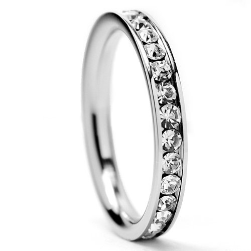 3MM Stainless Steel Eternity Ring with Clear Cubic Zirconia Crystals Size 4