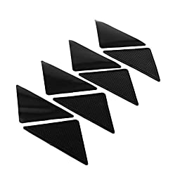 Fu Global 6x3 inch Rug Carpets Grippers Reusable Washable Non Slip Grip Corners Pad Black Pack of 8