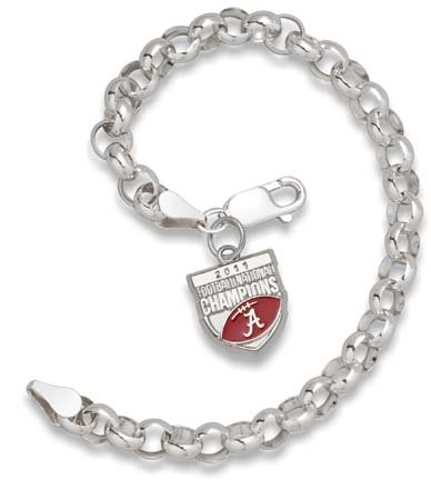 Alabama Crimson Tide 2011 BCS National Champions Enameled Sterling Silver Rollo Bracelet