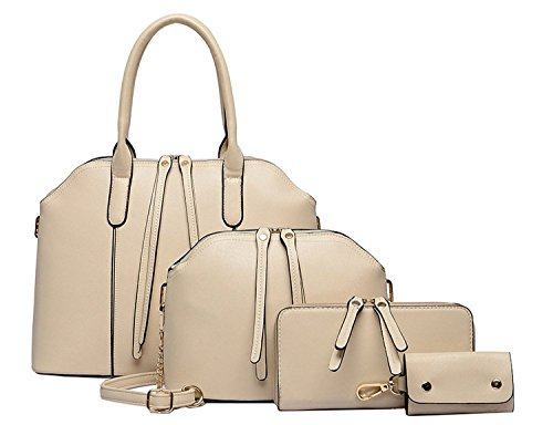 BG® Women 4 Pieces in a Lot Simple Design Purse Leatherette Shoulder Handbags Clutches