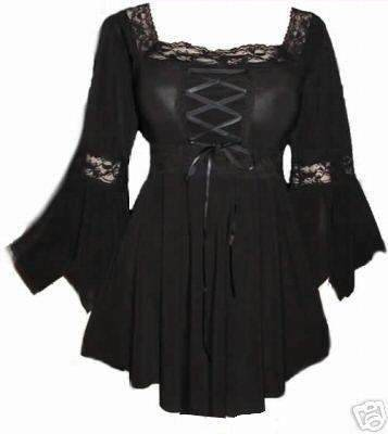 Black - Corset Raven Top Gothic Medieval Long Stretchy Halloween Witch Fancy Dress Sizes 18-20 (Womens Fancy Dress Halloween Costumes)