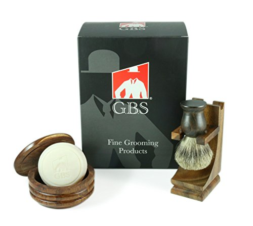 Men's Grooming Set - Comes with Gift Box - Wood Mug Shaving Bowl, 100% Pure Badger Brush,wood Brush Stand and 97% All Natural Gbs Ocean Driftwood Shave Soap (Shaving Brush Bowl compare prices)