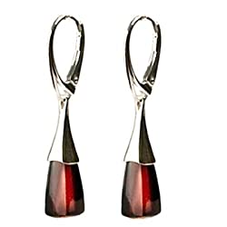 Black Cherry Amber Silver 925 Leverback Contemporary Earrings
