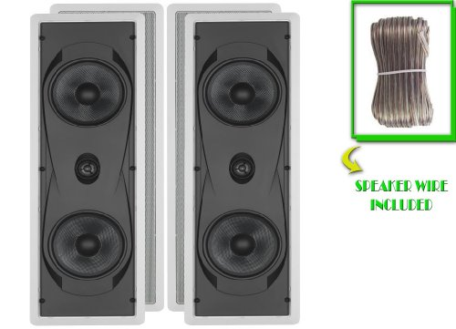 """Yamaha Custom Easy-To-Install In-Wall Flush Mount 2-Way 150 Watts Natural Sound Speaker Set (Pair Of 2) With 1"""" Titanium Dome Swivel Tweeter & Dual 6-1/2"""" Kevlar Cone Woofers + 100 Feet Of Oxygen-Free Copper Speaker Wire"""