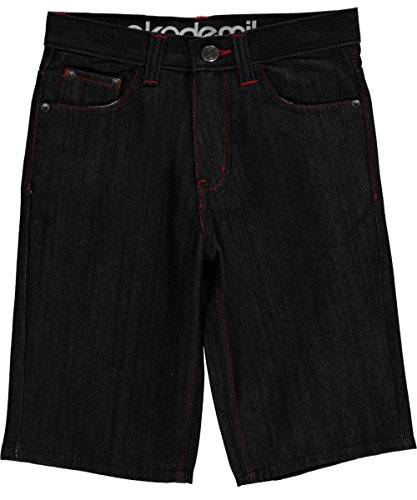 "Akademiks Big Boys' ""Nautilus & Stripe Stitch"" Denim Shorts - red/black, 10"