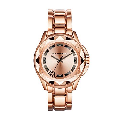 Karl Lagerfeld  - Reloj de cuarzo unisex, correa de acero inoxidable color oro rosa