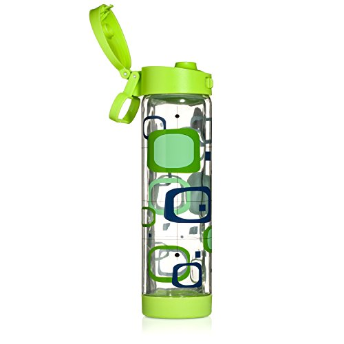 Glasstic Glass Water Bottle - 16Oz - Double Walled - Green Flip Cap - Retro Design