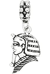 Sterling Silver European Style One Sided King of Egypt Pharaoh Dangle Bead Charm