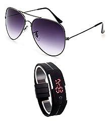MagJons Black Aviator Sunglasses With Digital Slim Watch
