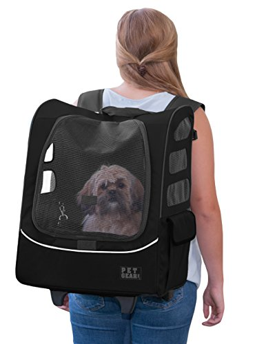Pet Gear I-GO2 Plus Traveler Rolling Backpack Carrier for Cats and Dogs, Black