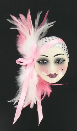 Porcelain Red Black Feather Lady Face Wall Art Mask