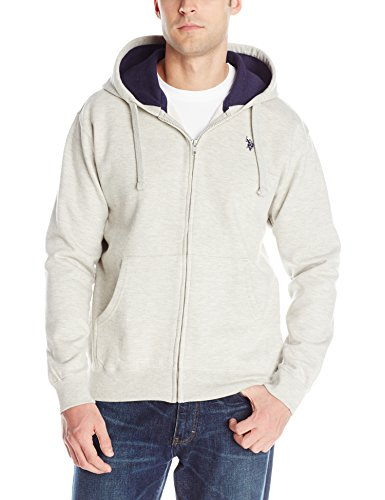 U.S. Polo Assn. Men'S Fleece Full Zip Hooded Sweat Shirt, Light Heather Gray, Large