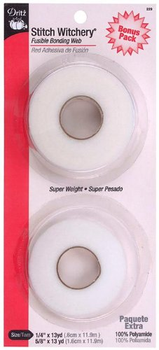 Dritz Stitch Witchery - Super Weight 1/4 Inch & 5/8 Inch - 13 Yards Combo Pack