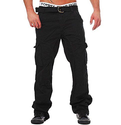 M224 Herren Cargo Jeans Army Hose Vintage Cargohose Loose Fit Chinohose, Farben:Schwarz;Größen:W30 (Etikett 46)