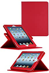 HHI 360 Dual-View Multi Angle Folio Case Cover for iPad 4 with Retina display / The new iPad (3rd Generation) / iPad 2 - Red (Built-in magnet for sleep and wake feature) (include HHI Stylus Pen)