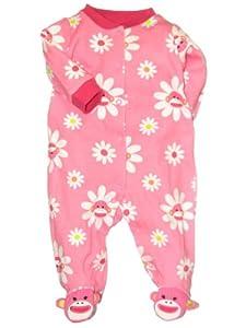 Baby Girl Flower Sock Monkey Sleep N Play Footie by Baby Starters