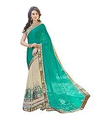 Shubhkari Fashion Blue Georgette Women's Fancy Saree With Banglori Blouse(SF_1017_FREE_SIZE)