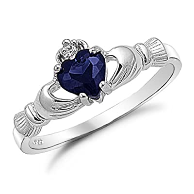 Kriskate & Co. Irish Claddagh Ring .925 Sterling Silver with Simulated Blue Sapphire Heart Promise Ring