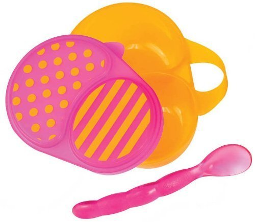 Sassy First Solids Bowl & Spoon - Pink/Orange - 1