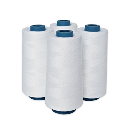White Thread Spun Polyester 4 Large Cones 3000 Yards each All Purpose Perfect for Sewing Quilting Serger Value Pack (Serger Cotton Thread compare prices)
