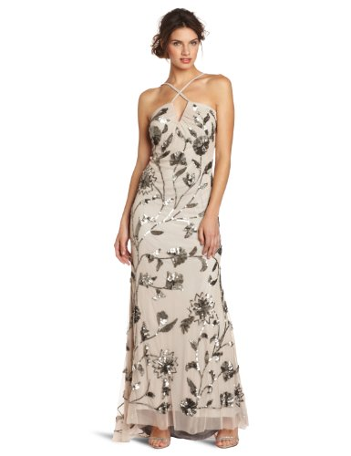 Adrianna Papell Women's Beaded Halter Gown, Taupe, 12