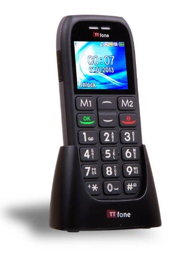 TTfone Mars TT400 - Großes Tasten Candy Bar Handy - Einfach zu benutzen - Entsperrt - Vollfarbiger Bildschirm - FM Radio - SOS Taste - Schwarz inklusive Ladegerät Station