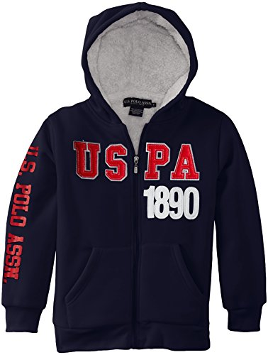 U.S. Polo Assn. Big Boys' Fleece Hooded Jacket With Sherpa Lining, Classic Navy, 18