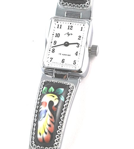 Unique Russian Luch Black Finift Enamel Floral Bracelet Watch