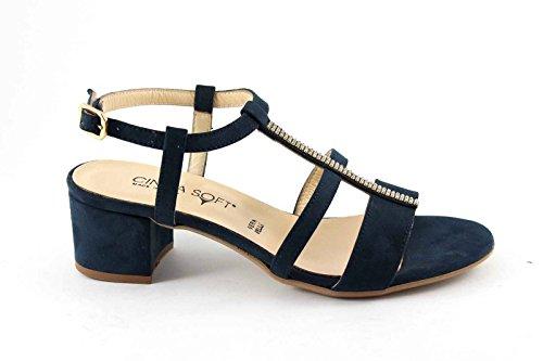 CINZIA SOFT 68555 blu scarpe sandali donna pelle strass cinturino 37
