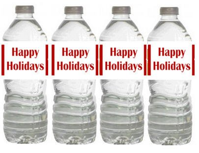 Happy Holidays Christmas Party Table Decorations - 12pack Water Bottle Labels - 1