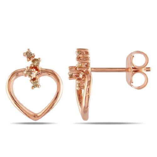 Pink Silver 1/10 CT TDW Brown Diamond Stud Earrings