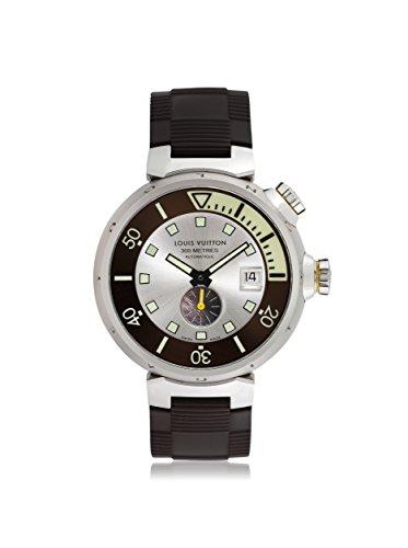 Louis Vuitton Men's Pre-Owned Tambour Diver Silver/Brown Rubber Watch