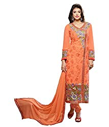 Monalisa Fabrics Women's Unstitched Dress Material (2254113_Orange _Free Size)
