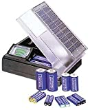 Solar Powered Battery Charger with Meter Charges 2 D – C – AA – AAA Batteries