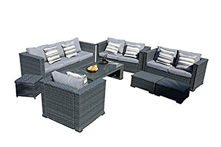 Yakoe Monaco 8 Seater Luxury Rattan Garden Furniture Wicker Patio Conservatory Sofa Set with Coffee Table Chairs and Stools - Grey