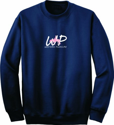 Western Pleasure Electric Horse And Rider Navy Blue Sweatshirt, Medium