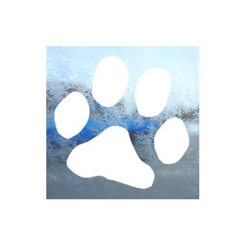 Dog Paw Print White Decal Car Laptop Window Vinyl White Sticker