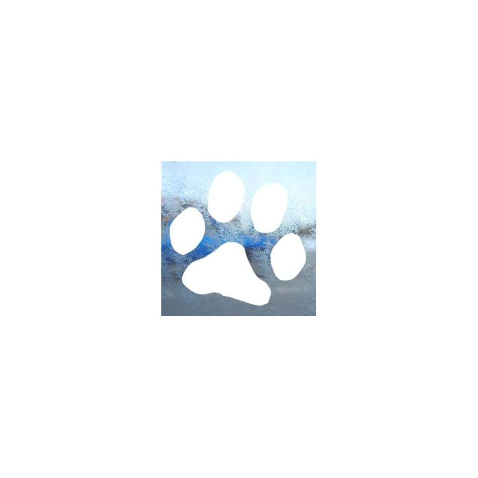 Dog Paw Print White Decal Car Laptop Window Vinyl White Sticker
