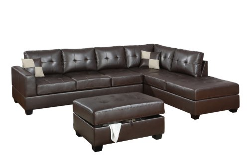 Bobkona rui leather reversible sectional sofa with for Bobkona sectional sofa with ottoman