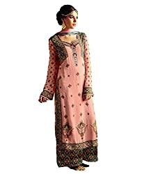 Meera Women's Georgette Unstitched Dress Material (HR2_Peach Pink)