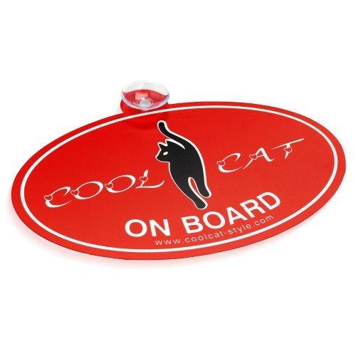 """Cool Cat Club Auto Aufkleber - Slogan 1 """"Cool Cat On Board"""" (Rot / Weiß)"""