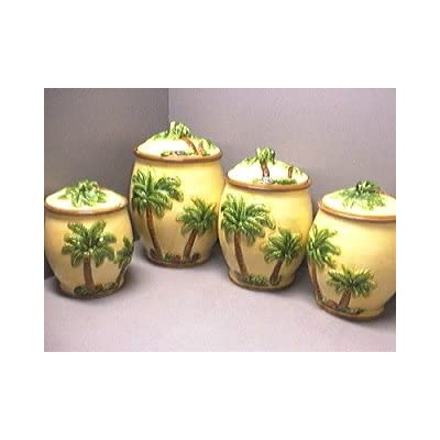 Queen palm tree 3d canisters set of 4 palms for Kitchen queen set