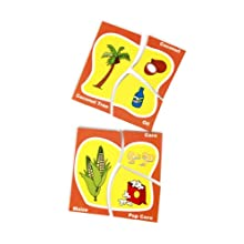 Skillofun Veg/Plant And Their Products Match-up Puzzle, Multi Color